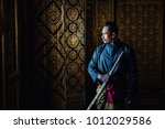 thai warrior in traditional at...   Shutterstock . vector #1012029586