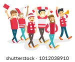 group of multicultural happy... | Shutterstock .eps vector #1012038910