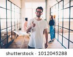 half length portrait of skilled ... | Shutterstock . vector #1012045288