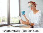 shot of funny female model... | Shutterstock . vector #1012045603