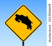 costa rica map road sign.... | Shutterstock .eps vector #1012046449