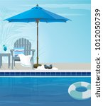 relaxing tropical swimming pool ... | Shutterstock .eps vector #1012050739
