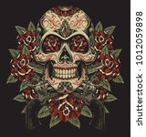 skull and roses with revolvers... | Shutterstock .eps vector #1012059898