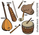 set of hand drawn traditional... | Shutterstock .eps vector #1012073098