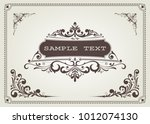 vintage frame with beautiful... | Shutterstock .eps vector #1012074130