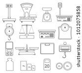 set of linear icons of scales.... | Shutterstock .eps vector #1012075858