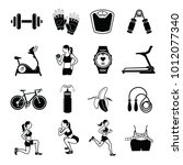 fitness and health icons with