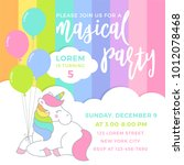 Stock vector cute unicorn with balloons illustration for party invitation card template 1012078468