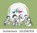 holi celebrations   boy's... | Shutterstock .eps vector #1012082920