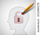 pencil erases the lock in the... | Shutterstock .eps vector #1012085278