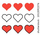 set of outline red heart icons...