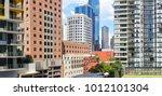 panorama urban view between... | Shutterstock . vector #1012101304