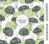 broccoli hand drawn vector... | Shutterstock .eps vector #1012104394