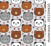 cute panda and bear seamless...   Shutterstock .eps vector #1012104610