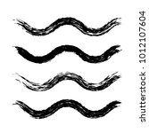 grunge waves brush strokes. set ... | Shutterstock .eps vector #1012107604