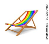Wooden Beach Chair on white background - stock photo