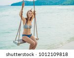vacation concept. happy young... | Shutterstock . vector #1012109818