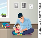 father and son are using...   Shutterstock .eps vector #1012111840