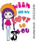 cute dog   t shirt graphics  ... | Shutterstock .eps vector #101211646