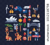 country australia. pixel art... | Shutterstock .eps vector #1012118758