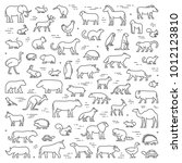 Vector line concept for american, african and australian animals. Linear banner for pets and farm animals. Open path.