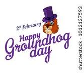 cartoon old groundhog in hat... | Shutterstock .eps vector #1012127593