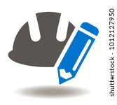 hard hat pencil icon vector.... | Shutterstock .eps vector #1012127950