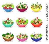 various salads set  vegetable ... | Shutterstock .eps vector #1012129564