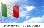 flag of italy on flagpole... | Shutterstock . vector #1012130866