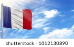 flag of france on flagpole...   Shutterstock . vector #1012130890