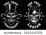 set of skulls lady and... | Shutterstock .eps vector #1012131370