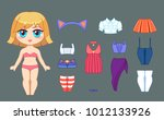 little cute chibi girl and set... | Shutterstock .eps vector #1012133926