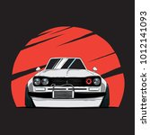 cartoon japan tuned old car on... | Shutterstock .eps vector #1012141093