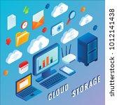 cloud storage vector flat 3d...   Shutterstock .eps vector #1012141438