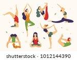 women are doing yoga in... | Shutterstock .eps vector #1012144390
