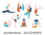 women doing yoga in different... | Shutterstock .eps vector #1012144393