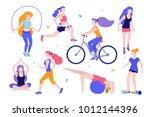 woman activities. set of women... | Shutterstock .eps vector #1012144396