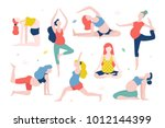 yoga for pregnant women vector... | Shutterstock .eps vector #1012144399
