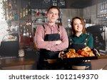 couple of barista standing near ...   Shutterstock . vector #1012149370