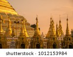 group of small pagoda around... | Shutterstock . vector #1012153984