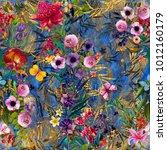 seamless bright floral pattern... | Shutterstock . vector #1012160179