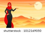 beautiful girl in a veil on the ... | Shutterstock .eps vector #1012169050