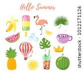 vector cartoon style set of... | Shutterstock .eps vector #1012171126