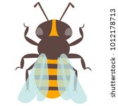 vector happy cartoon bee flying ... | Shutterstock .eps vector #1012178713