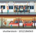 subway inside with people man... | Shutterstock .eps vector #1012186063