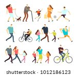 Stock vector men and women walking outdoor vector cartoon active characters in various lifestyles in street 1012186123