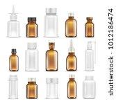 medicine glass and plastic...   Shutterstock .eps vector #1012186474