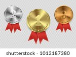 set of gold  bronze and silver. ... | Shutterstock .eps vector #1012187380