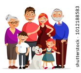 happy family standing together... | Shutterstock .eps vector #1012188583