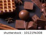 broken chokolate bars and... | Shutterstock . vector #1012196308